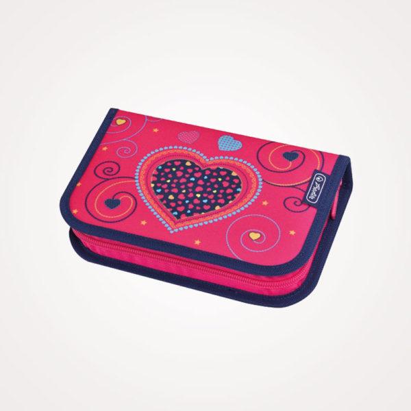 Torba školska set 4/1 Midi Pink Hearts Herlitz - pernica puna